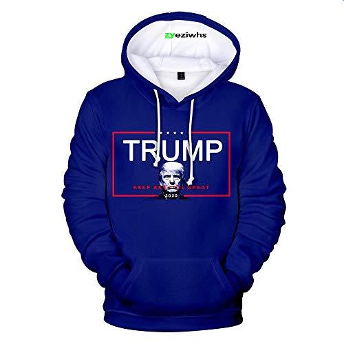 Zyezi, felpa con cappuccio per adulti Trump 2020 Re-Elect Donald Trump, divertente presidente unisex a maniche lunghe B XXX-Large