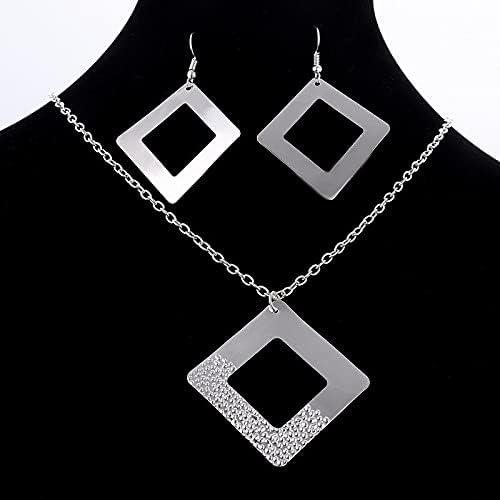 Our shop OFFers the best service Delicate Silver Color Jewelry Bargain sale Set Pendant Square Long Chain Neck