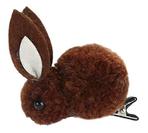 Plus Nao(プラスナオ) ヘアゴム 髪ゴム ヘアクリップ レディース 髪飾り ヘアアクセサリー 髪留め ヘアピン うさぎ ウサギ もこもこ 立体的 - 10ブラウン×ヘアクリップ