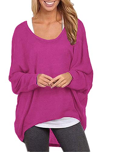 ZANZEA Damen Lose Asymmetrisch Jumper Sweatshirt Pullover Bluse Oberteile Oversize Tops Rose EU 46/Etikettgröße XL
