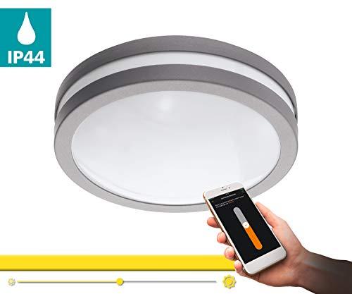 Preisvergleich Produktbild EGLO connect LED Außen-Deckenlampe Locana-C,  Smart Home Außenleuchte für Wand und Decke,  Deckenleuchte aus Stahl und Kunststoff,  Farbe: Silber,  weiß,  warmweiß,  dimmbar,  IP44
