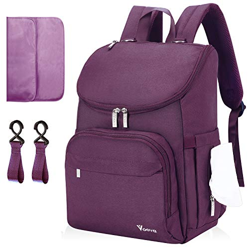 Diaper Bag Backpack, Voova Large Baby Bag Multifunction Travel Back Pack for Mom Women, Waterproof Maternity Nappy Bags with Changing Pad, Laptop Pocket & Stroller Straps for Baby Boys & Girls, Purple