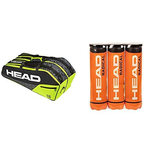 Head Core 6R Combi, Borsa per Racchetta Unisex Adulto, Nero/Giallo Neon & 3X4B Radical, Palline Tennis Unisex Adulto, Giallo, Taglia Unica