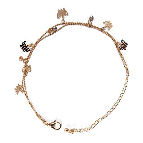 N-brand PULABO Doppelkette Fußkettchen Mit Schmetterling Kristall Anhänger Frauen Lady Vintage Elegante Knöchel Armband Strand Fußschmuck Robust und kostengünstig Beliebt