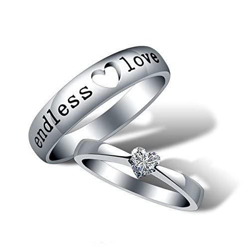 Yellow Chimes 'Endless Love' Heart Crystal 925 Sterling Silver Plated Proposal Couple Rings for Girls and Boys. Perfect for Couple!