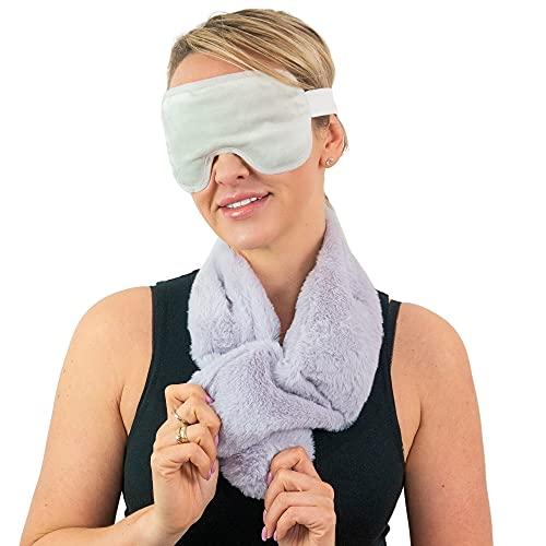 Bouillotte cervicale micro-onde EXTRA DOUCE Relaxante Multi-usages + Masque pour les yeux en gel OFFERT, Tour de cou chauffant pour Cou, Épaules, Réduit la fatigue, Soulage la Douleur BODYSKYLLER®