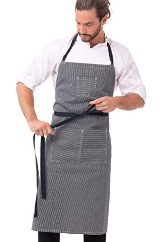 Chef Works Unisex Portland Chefs Bib Apron, Indigo Blue, One Size