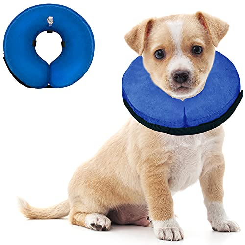 Soft Dog Cone Collar for Large Medium Small Dogs and Cats After Surgery, Inflatable Dog Neck Donut Collar,Inflatable Cat Cone Collar,E-Collar for Dogs Recovery, Dog Cones Alternative (Medium, Blue)