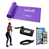 7 Ft. Long Resistance Band with Carry Pouch and Resistance Band Door Anchor, Latex-Free, Includes Home Workout App and Ebook, Choose Light, Medium or Heavy Strength - Super Exercise Band