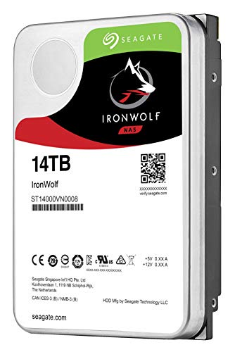 Seagate IronWolf 14TB NAS Internal Hard Drive HDD – 3.5 Inch SATA 6Gb/s 7200 RPM 256MB Cache for RAID Network Attached Storage (ST14000VN0008)