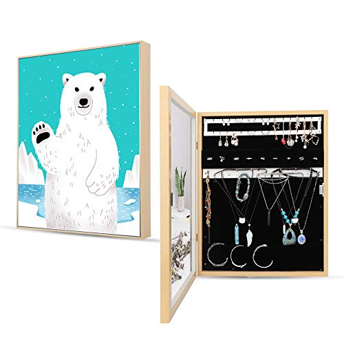 JEXICASE Wall Mounted Jewelry Organizer, Wood Grain Jewelry Cabinet with Mirror Door/Wall Hanging Jewelry Storage Cabinet Space Saving Jewelry Box Creative Gift