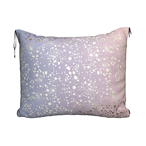 Manta de viaje y almohada, juego de almohada y manta de viaje, manta de viaje compacta, suave 2 en 1, manta de avión, lámina dorada de estrella brillante, cuarzo rosa, color azul serenidad