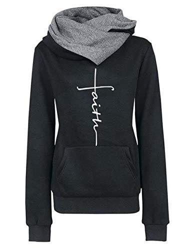 ZIYYOOHY Damen Kapuzenpullover Rollkragenpullover mit Faith Druck Langarm Pulli Sweatshirt Outwear mit Kapuze (M, Schwarz)