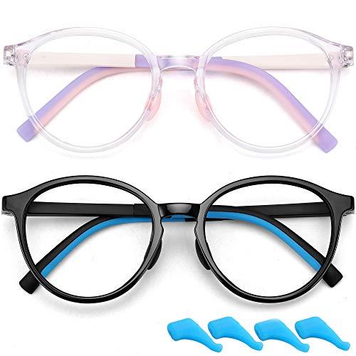 Gafas de luz azul para niños y niñas para juegos de computadora con bloqueo de rayos azules, antifatiga ocular TR flexibles (edad 4 a 12 años), paquete de 2 (negro brillante y morado claro)