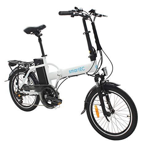 smartEC Camp-20H Klapprad E-Bike, 20 Zoll, Samsung Li-Ion-Akku 36V/250 Watt, Anfahrhilfe, Fahrunterstützung 25 km/h, Reichweite 100 km, Nabenmotor, 7 Gänge (Weiß)