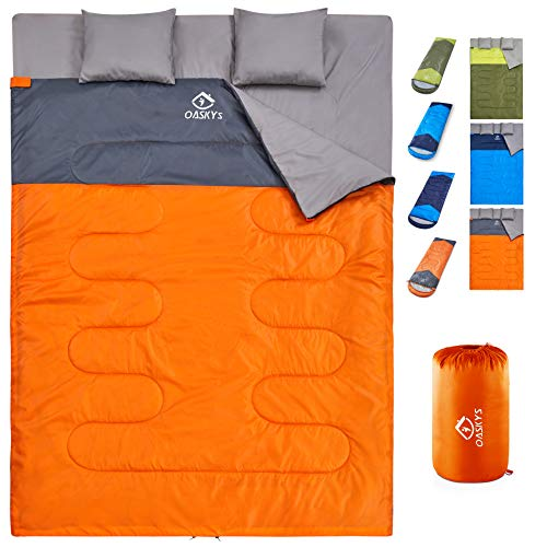 oaskys Camping Sleeping Bag - 3 Season Warm & Cool Weather - Summer, Spring, Fall, Lightweight, Waterproof for Adults & Kids - Camping Gear Equipment, Traveling, and Outdoors (Double Tangerine)