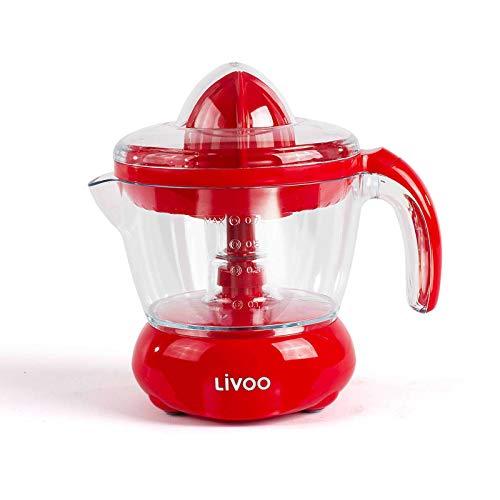 Exprimidor eléctrico de 700 ml, exprimidor de cítricos con boquilla (exprimidor de frutas, zumo de naranja, zumo de limón, 2 conos prensados, rojo)