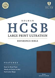 HCSB Large Print Ultrathin Reference Bible, Brown Genuine Cowhide