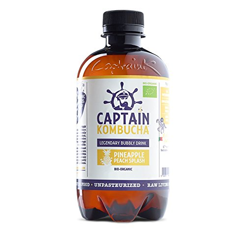 Captain Kombucha Pineapple Peach Splash, Té de burbuja - 12 de 400 ml. (Total 4800 ml.)