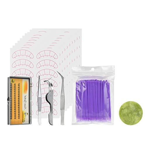 MERIGLARE 124 Pièces Jetables Coton-tige Pince à épiler Coussin Porte-cils Pour La Greffe - Violet