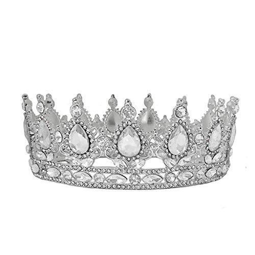 lijun Crown Rhinestone Tiaras for Costume Party Hair Accessories with Gemstone Silver