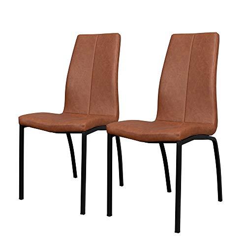 Selsey Sedia Imbottita, Marrone, 2 Stühle
