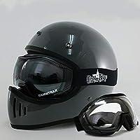 ダムトラックス ブラスター ヘルメットUVカットゴーグルSET (グロスグレーM/CPクリア) オーバーグラスゴーグル DAMMTRAX BLASTER フルフェイスヘルメットゴーグル付き ブラスターヘルメット バイク M,CPクリア
