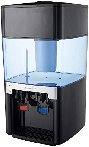 Rosenstein & Söhne Kaltwasserspender: Elektro-Heiß- & Kalt-Wasserspender, Kohle-Filter, 2 Zapf-Hähne, 16 l (Durchlauferhitzer)