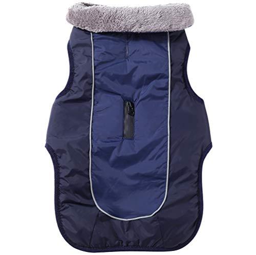 JoyDaog Płaszcz dla psa z polarowym kołnierzem dla małych psów, wodoodporna, ciepła kurtka dla szczeniaków z bawełny na zimę, niebieski XS