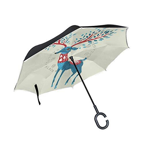for Car Outdoor Umbrella Ladybug Reverse Umbrella Mysterious Reindeer Christmas with C-Shaped Handle Patio Umbrella Windproof