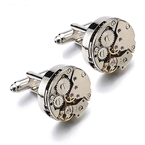 Movement Cufflinks Deluxe Steampunk Vintage Watch Shape Cufflinks (1 pair) for Men's Shirt Wedding Business Gift