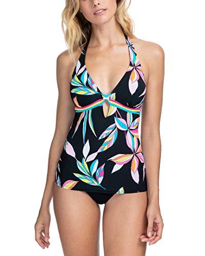 Profile by Gottex Women's Standard Halter V-Neck Tankini Top Swimsuit, Paparazzi Multi Black, 14