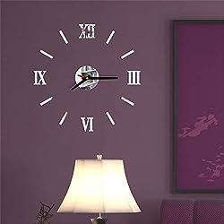 Yu2d 3D DIY Roman Numbers Acrylic Mirror Wall Sticker Clock Home Decor Mural Decals(Silver)