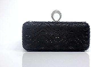 Yanbao Ring Finger Wave Shaped Stone Yanbao Diamond Party Dress Bag Handbag Handle,Black