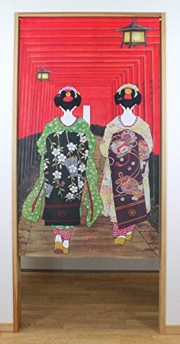 Narumi narumikk noren (cortina japonesa) Geisha Girls at Fushimi Inari Santuario 85 cm x 150 cm de Japón 14271 14-271