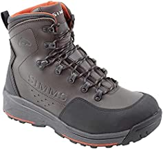 Simms Men's Freestone Wading Boots, Rubber Sole Fishing Boots, Dark Olive, 8