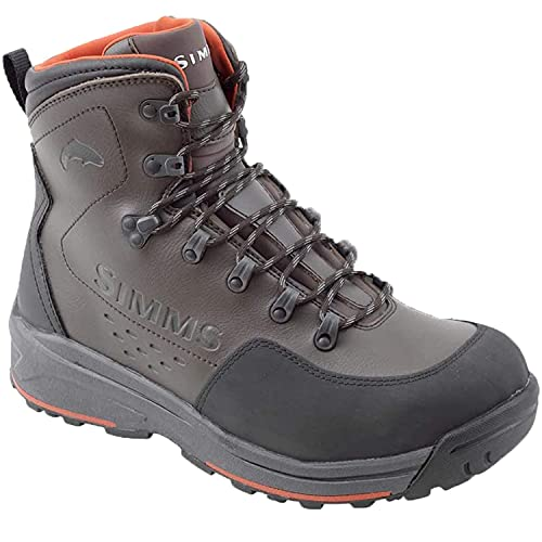 Simms Men's Freestone Wading Boots, Rubber Sole Fishing Boots, Dark Olive, 14
