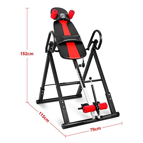 ONETWOFIT Inversion Table, Heavy Duty Folding Inversion Machine with Comfort Backrest, Adjustable Height Inversion Table for Muscle Pain Relief OT257