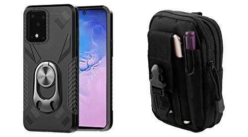 Bemz [Dual Series] Case for Samsung Galaxy S20 Ultra Bundle: Bottle Opener Stand Magnetic Mount Ready Armor Rugged Cover with 600D Waterproof Nylon Material Tactical Pouch and Lens Wipe - Black