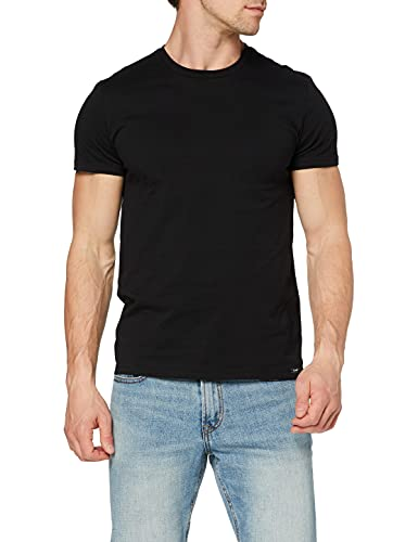 Lee Twin Pack Crew Camiseta, Negro, XL para Hombre