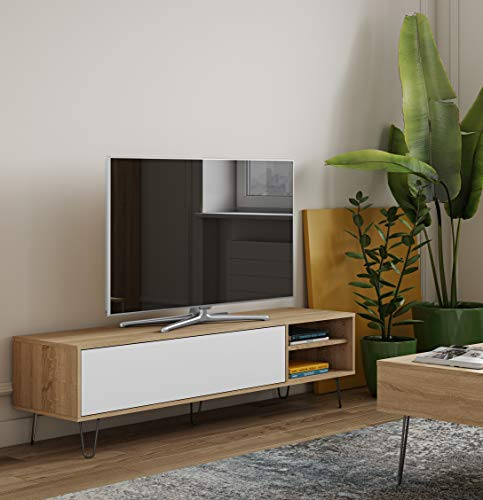 Temahome 3370A1021A01 Aero Meuble Tv Panneaux de Particules Mélamines Chêne Naturel 165 X 40 X 43,5 Cm