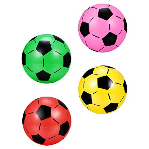 CLISPEED 4 Pezzi Palloni da Calcio Gonfiabili Blow up Football Classico Pallone da Calcio in Plastica Sport Palla Giocattoli Compleanno Estate Spiaggia Piscina Forniture per Feste Colore