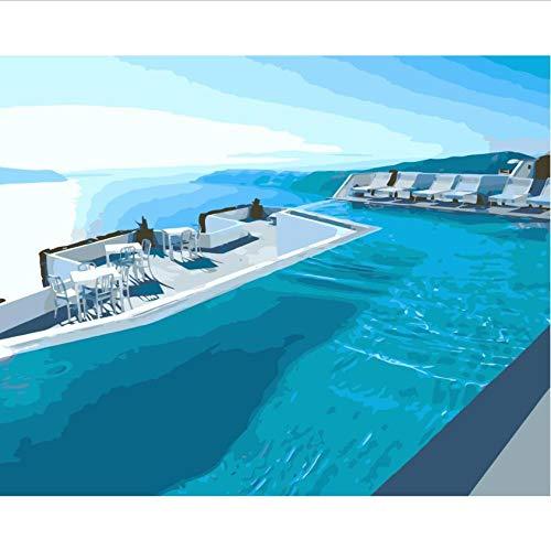 Hyllbb DIY ölgemälde Dubai Swimming Pool Diy Malen Nach Zahlen Auf Leinwand Für Wohnkultur-40 * 50Cm,With Frame