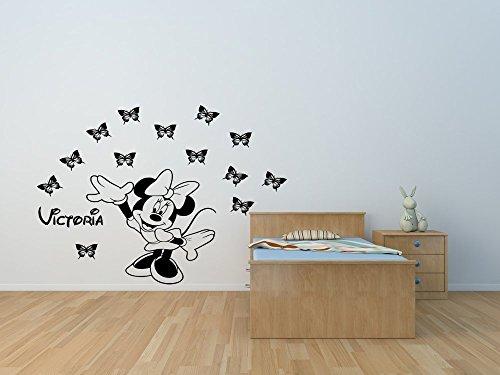 Autocollant de mur de vinyle de souris de Minnie avec des papillons et votre choix de nom. Autocollant mural Minnie Mouse personnalisé.