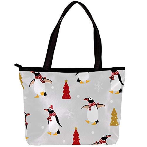Süßer Pinguin im Winter Kostüm Seamless Pattern Twill Schwamm Pfirsichhaut Handtasche Damen Signature Reißverschluss