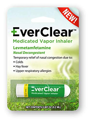 EverClear Medicated Vapor Inhaler, Nasal Decongestant for Colds, Hay Fever, & Upper Respiratory Allergies, 0.2 ml