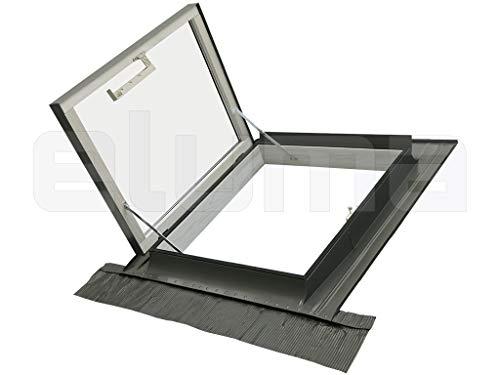 Lucarne/Fenêtre de toit - ligne CLASSIC LIBRO (Puits de lumière - Fenêtre pour l'accès au toit) Raccord inclus/Double Vitrage/Ouverture latérale (78x78 Largeur x Hauteur)