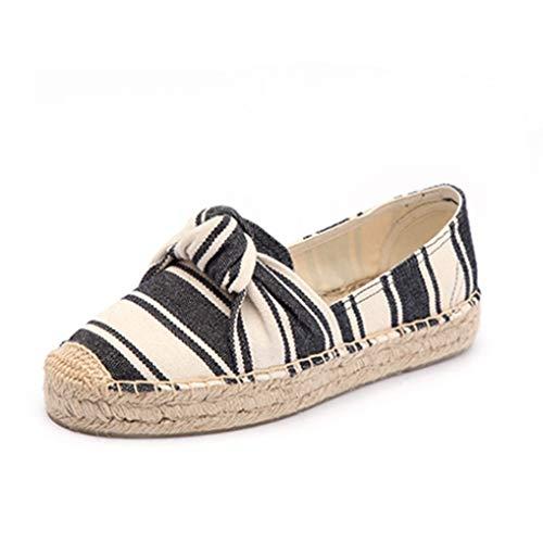 Dames Platform Espadrilles Ronde Neus Bowknot Instappers Loafers Ademende Lopende Platte Sneakers Casual Ondiepe Mond Canvas Schoenen