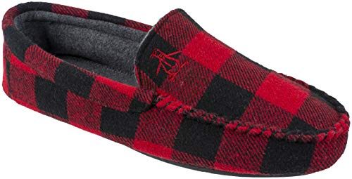 Original Penguin Mens Slippers, Microsuede Venetian Moccasin Slipper, Black Red Plaid,Men's Size 9