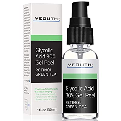 Glycolic Acid Peel 30% Professional Chemical Face Peel with Retinol, Green Tea Extract, Acne Scars, Collagen Boost, Wrinkles, Fine Lines, Sun - Age Spots, Anti Aging, Acne (1 Ounce) from YEOUTH